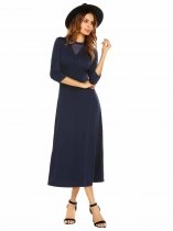 Navy blue O Neck 3/4 Sleeve Solid Pullover Party Evening Maxi Dress