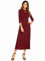 Wine red O Neck 3/4 Sleeve Solid Pullover Party Evening Maxi Dress