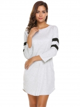 Gray 3/4 Sleeve Contrast Color T-Shirt Dress