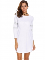 White 3/4 Sleeve Contrast Color T-Shirt Dress