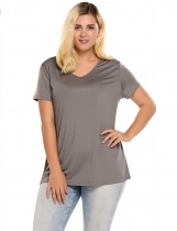 Gray Plus Sizes V-Neck Short Sleeve Solid T-Shirts