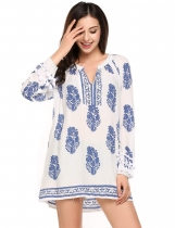 Blue V-Neck Long Sleeve Boho Print Loose Tunics
