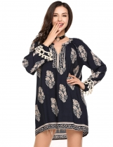 Navy blue V-Neck Long Sleeve Boho Print Loose Tunics