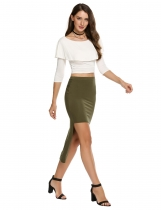 Army green Stretch Elastic High Waist Ankle-Length Solid Skirt