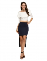 Dark blue Stretch Elastic High Waist Ankle-Length Solid Skirt
