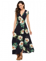 Navy blue Surplice Neck Floral Loose Beach Maxi Dress