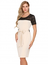 Beige Hollow out Lace Short Sleeve Belted Sheath Dress