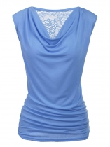 Blue Cowl V-Neck Sleeveless Back Lace Patchwork Vests