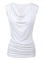 White Cowl V-Neck Sleeveless Back Lace Patchwork Vests