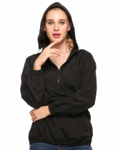 Black Hooded Loose Long Sleeve Solid Poncho Rain Coat
