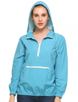 Blue Hooded Loose Long Sleeve Solid Poncho Rain Coat