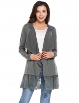 Gray Long Sleeve Open Front Draped Lace Trim Hooded Cardigan