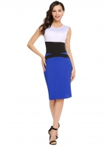Royal Blue O-Neck Sleeveless Patchwork Bodycon Slim Pencil Dress
