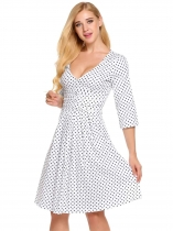 White Surplice Neck 3/4 Sleeve Dot Ruched Swing Dress