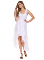 White Women Fashion Spaghetti Strap Sleeveless Solid Asymmetrical Dress