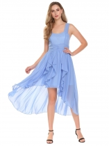 Sky blue Women Fashion Spaghetti Strap Sleeveless Solid Asymmetrical Dress