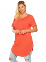 Orange Plus Size Short Sleeve Solid Loose Long Curved Hem Tops