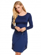 Navy blue Long Sleeve Solid O Neck Ruched Pencil Dress