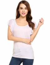 White Scoop Neck Solid Slim Butterfly Sleeve Tops