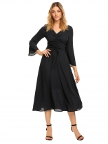 Black V-Neck Long Flare Sleeve Drawstring Dress