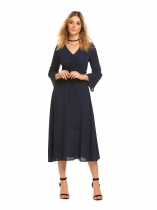 Dark blue V-Neck Long Flare Sleeve Drawstring Dress