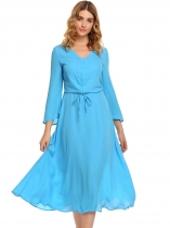 Light blue V-Neck Long Flare Sleeve Drawstring Dress