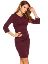 Wine red 3/4 Sleeve Ruched Solid Bodycon Dress