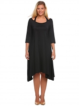 Black Plus Size 3/4 Sleeve Cut out Asymmetrical Dress