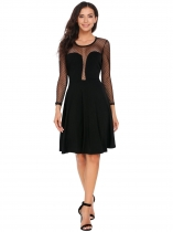 Black Keyhole Back Dot Mesh Patchwork Dress
