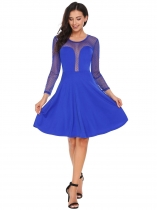 Blue Keyhole Back Dot Mesh Patchwork Dress