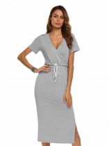 Gray V-Neck Short Sleeve Drawstrimg Split Solid Bodycon Dress