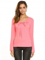 Pink Women Long Sleeve Basic Tee Solid Slim Casual T-shirt lace-up Bow