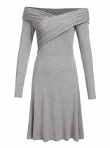 Gray Women Fashion V-Neck Long Sleeve Solid Loose Wrap Pleated Dress