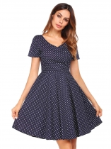 Navy blue V-Neck High Waist Dot A-Line Dress