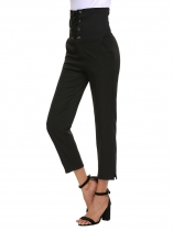 Black High Waist Solid Slim Fit Ankle Pencil Pants with Pocket
