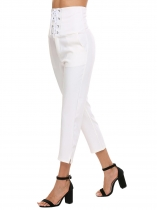 White High Waist Solid Slim Fit Ankle Pencil Pants with Pocket