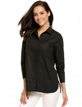 Black Long Sleeve Button Down Collar Loose OL Shirts