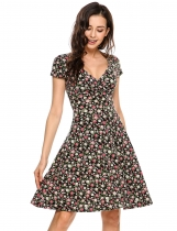 Black Plunge Neck Cap Sleeve Floral A-Line Dress