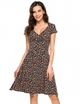 Orange Plunge Neck Cap Sleeve Floral A-Line Dress