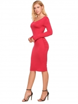 Women V-neck à manches longues Bodycon Dress Package Hip V-back Slim Party Club