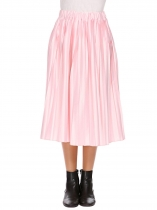 Pink Women High Waist Satin Pleated Midi Skirt