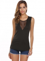 Black O-Neck Sleeveless Patchwork Mesh Tops