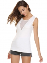 White O-Neck Sleeveless Patchwork Mesh Tops