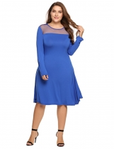 Blue Plus Sizes Sheer Mesh Patchwork A-Line Short Dress