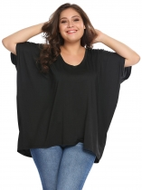 Noir Women Plus T-Shirts V-Neck Batwing T-shirt à manches courtes