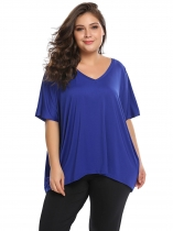 Royal Blue Solid Plus Sizes V-Neck Batwing Short Sleeve Loose Tops