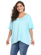 Bleu Bleu Plus Tailles V-Neck Batwing Short Sleeve Loose Tops