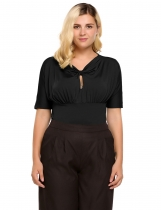 Black Plus Sizes Keyhole Front Knot Short Sleeve Ruched Top