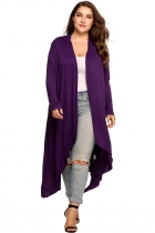 Purple Plus Size Long Sleeve Open Front Solid Draped Asymmetrical Long Cardigan