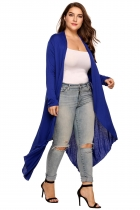Blue Plus Size Long Sleeve Open Front Solid Draped Asymmetrical Long Cardigan
